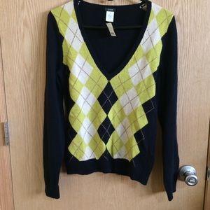 J.Crew Argyle Wool Blend V-Neck Sweater